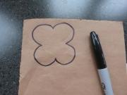 Draw/trace poppy on back of sticky felt