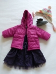 12 months - Who says you can't be comfy and dressy? This is a gorgeous deep purple formal dress, layered with a puffy jacket in fuchsia. The Ugg-style faux suede boots and brightly patterned winter toque complete the eclectic vibe.