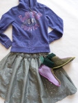 6-7 years - This is one of my personal faves! I love the juxtaposition of the zippered hoodie with the formal metallic skirt and handmade, woolen moccasins.