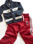 4-6 years - A great statement and I love how the navy from the sweater is picked up in the sports stripe of the pants.
