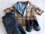 0-3 months - The pop of colour from the blue onesie layered under the brown plaid really brings this look to life.