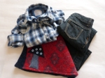 8-10 years - Town meets country with this unexpected mix of styles and textiles. The blue plaid shirt is from Justice, the jeans are a dark wash skinny boot-cut from Old Navy and you can also see the handmade bum warmer peaking out creating a very distinct and urban look.
