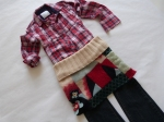 8-10 years - Again, this is a similar look to the previous one, but using a red plaid shirt from Justice and (my fave) bum warmer. Notice the repeating colours and the mix of patterns for a very comfortable, creative and confident feel.