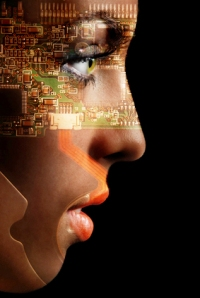 A female face imprinted with technology, looking to a bright future.