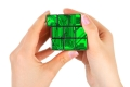 Hands with technology puzzle