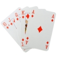 Playing cards fanned out - 10 of diamonds to Ace of diamonds