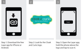 Layar instructions for Cloak and Curio augmented reality AR