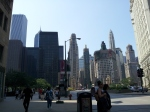 Walking along the Magnificent Mile in Chicago.