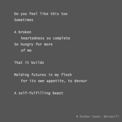 """Broken and the beast"" poetry by Roshan James, Kitchener Waterloo, Ontario, Canada"