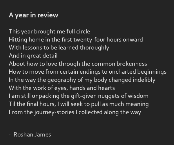 """A year in review"" poetry by Roshan James, Kitchener Waterloo, Ontario, Canada"