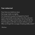 """Fear redeemed"" poetry by Roshan James, Kitchener Waterloo, Ontario, Canada"