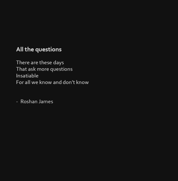 """All the questions"" poetry by Roshan James, Wellesley, Kitchener, Waterloo, Ontario, Canada"