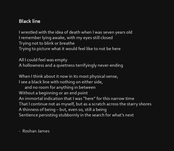 """""""Black line"""" poetry by Roshan James, Kitchener Waterloo, Ontario, Canada"""