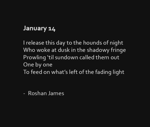 """""""January 14"""" poetry by Roshan James, Kitchener Waterloo, Ontario, Canada"""
