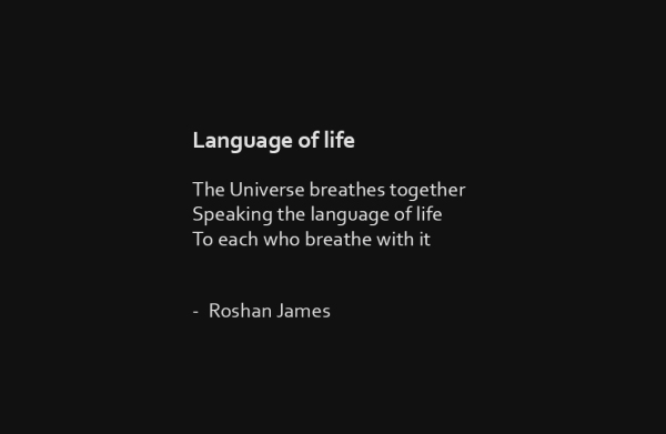 """Language of life"" poetry by Roshan James, Wellesley, Ontario, Canada"