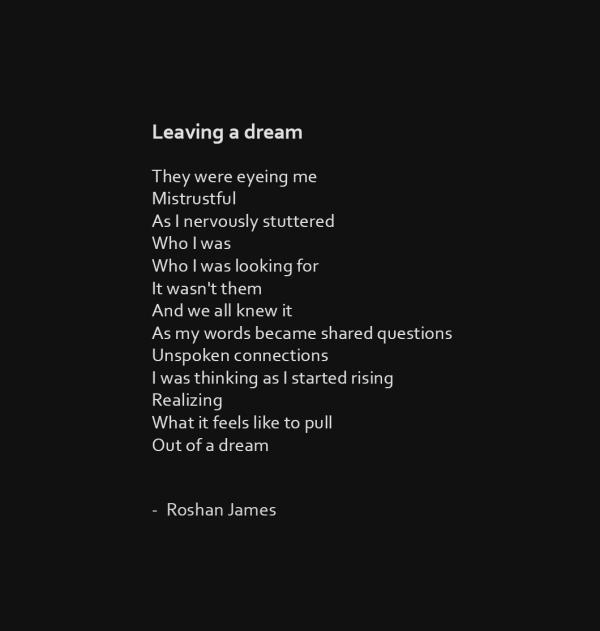 """""""Leaving a dream"""" poetry by Roshan James, Wellesley, Ontario, Canada"""