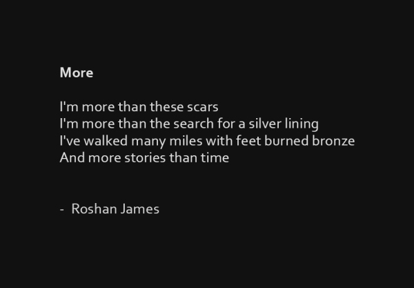 """More"" poetry by Roshan James, Kitchener Waterloo, Ontario, Canada"