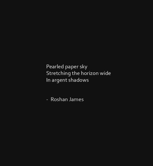 """""""Paper sky"""" poetry by Roshan James, Wellesley, Ontario, Canada"""