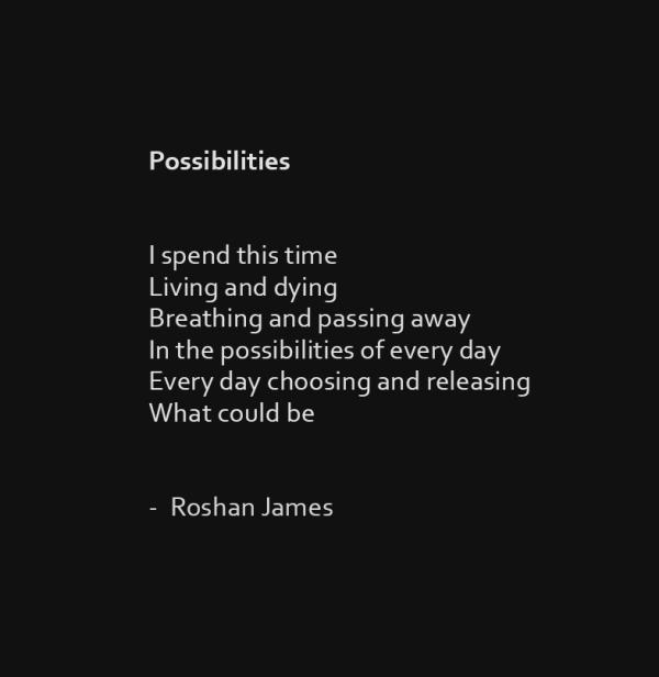 """""""Possibilities"""" poetry by Roshan James, Kitchener Waterloo, Ontario, Canada"""