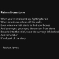 """Return from stone"" poetry by Roshan James, Kitchener Waterloo, Ontario, Canada"
