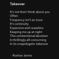 """Takeover"" poetry by Roshan James, Wellesley, Ontario, Canada"