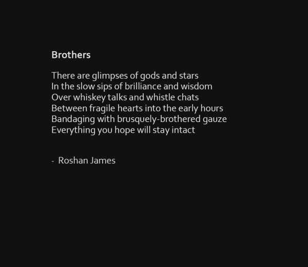 """Brothers"" poetry by Roshan James, Wellesley, Ontario, Canada"
