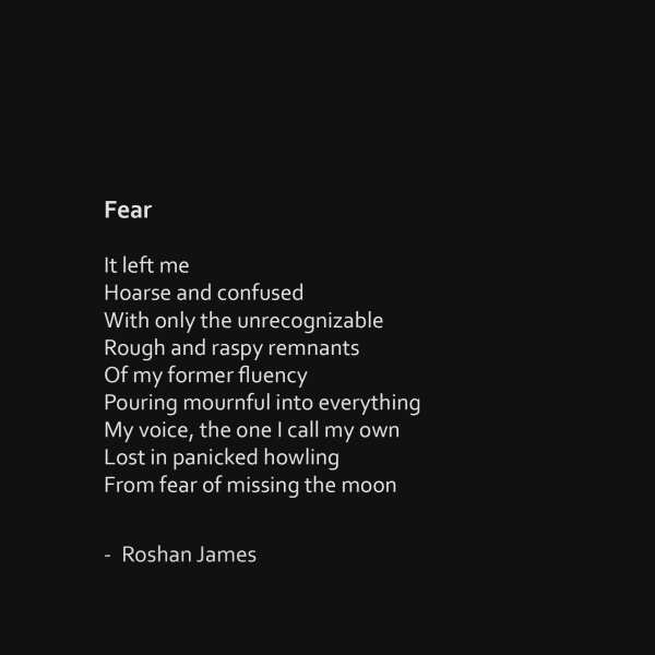 """Fear"" poetry by Roshan James, Wellesley, Ontario, Canada"