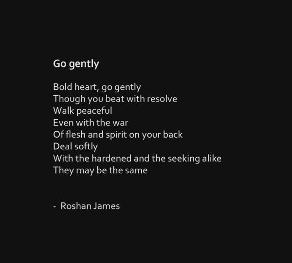 """""""Go gently"""" poetry by Roshan James, Wellesley, Ontario, Canada"""