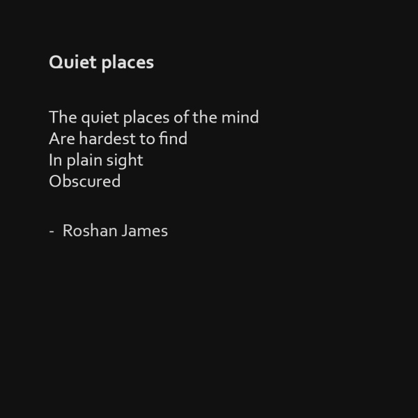 """Quiet places"" poetry by Roshan James, Wellesley, Ontario, Canada"