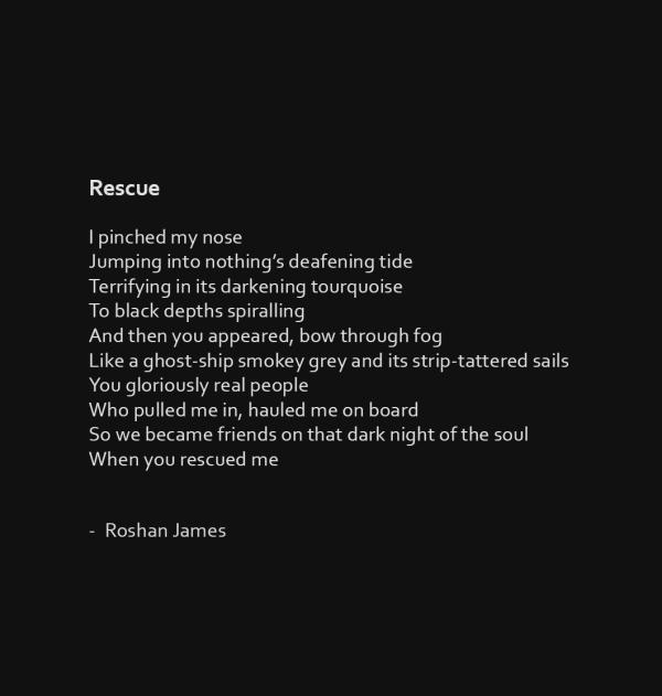 """""""Rescue"""" poetry by Roshan James, Wellesley, Ontario, Canada"""
