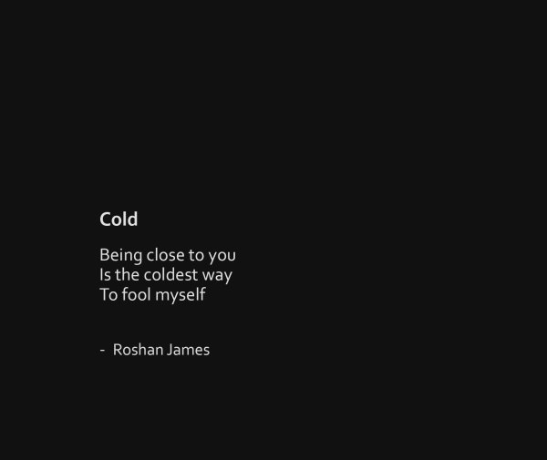 """Cold"" - poetry by Roshan James, Wellesley, Ontario, Canada"