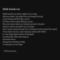 """Walk beside me"" - poetry by Roshan James, Wellesley, Ontario, Canada"