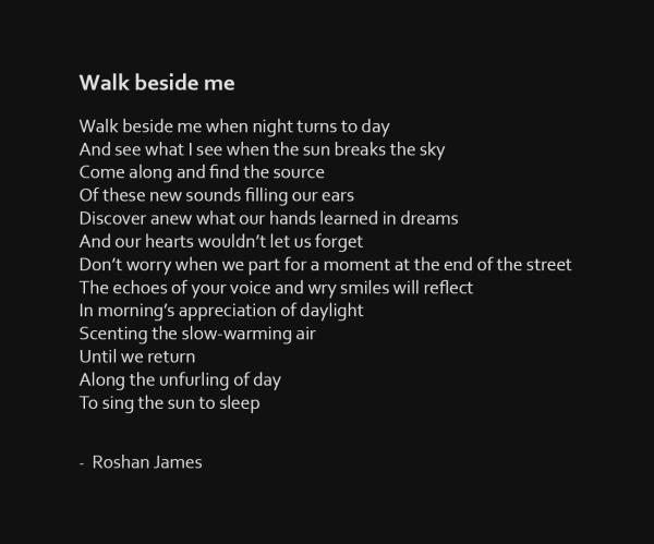 """""""Walk beside me"""" - poetry by Roshan James, Wellesley, Ontario, Canada"""