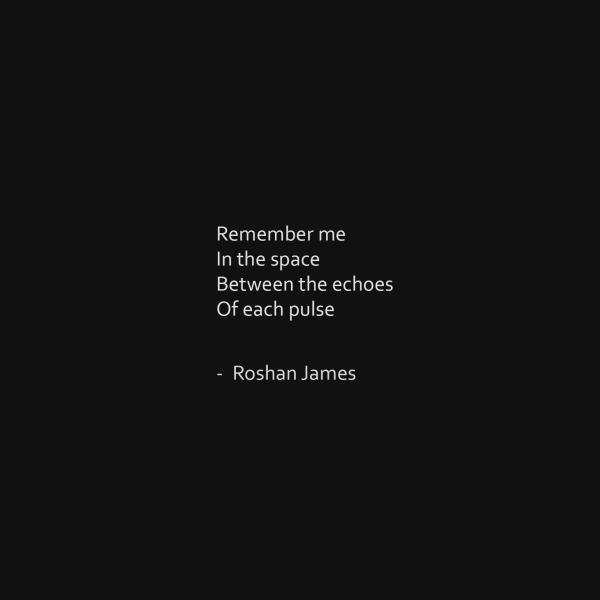 """""""Between"""" - poetry by Roshan James, Wellesley, Ontario, Canada"""