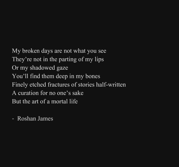 """""""My broken days"""" - poetry by Roshan James, Wellesley, Ontario, Canada"""