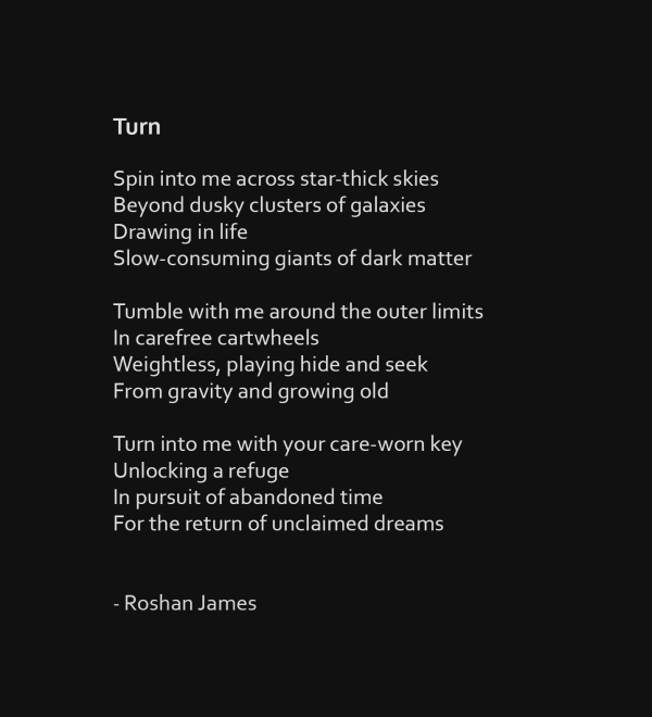 """Turn"" - poetry by Roshan James, Wellesley, Ontario, Canada"