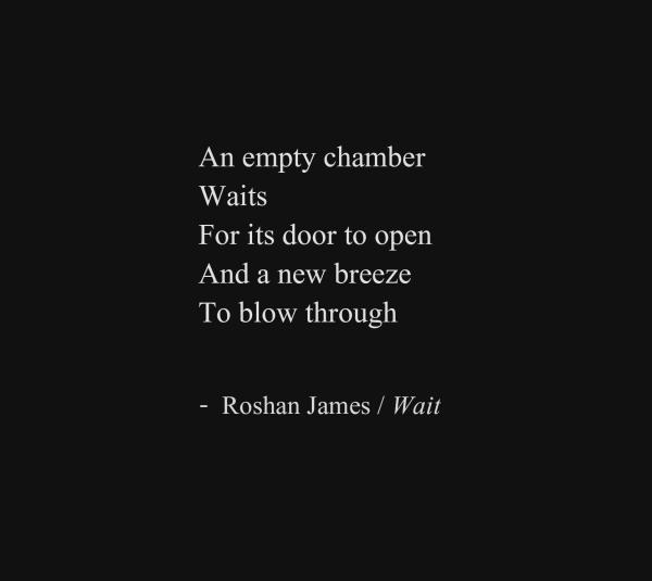 """""""Wait"""" - poetry by Roshan James, Wellesley, Ontario, Canada"""