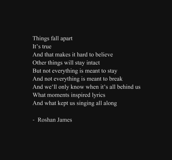 """When it's all behind us"" - poetry by Roshan James, Wellesley, Ontario, Canada"