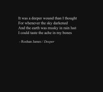 """""""Deeper"""" - poetry by Roshan James, Wellesley, Ontario, Canada"""