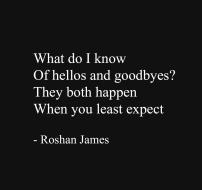 """Hello and goodbye"" - poetry by Roshan James, Wellesley, Ontario, Canada"