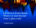"""Time's glass walls"" - poetry by Roshan James, Wellesley, Ontario, Canada"