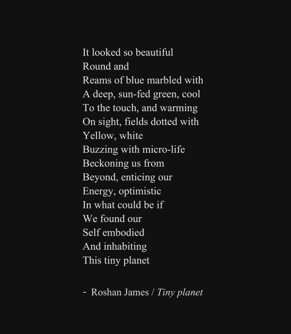"""Tiny planet"" - poetry by Roshan James, Wellesley, Ontario, Canada"