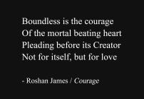 """Courage"" - poetry by Roshan James, Wellesley, Ontario, Canada"
