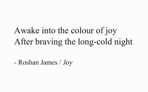 Joy - poetry by Roshan James, Wellesley, Ontario, Canada