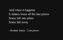 """Last pieces"" - poetry by Roshan James, Wellesley, Ontario, Canada"
