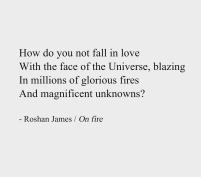 On fire - poetry by Roshan James, Wellesley, Ontario, Canada