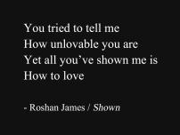 """""""Shown"""" - poetry by Roshan James, Wellesley, Ontario, Canada"""