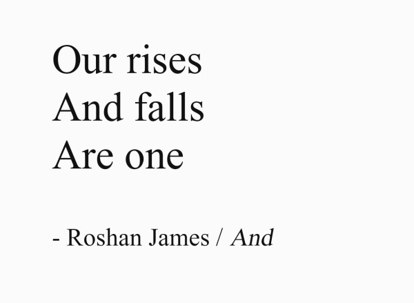 And - Our rises / And falls / Are one - poetry by Roshan James, Wellesley, Ontario, Canada
