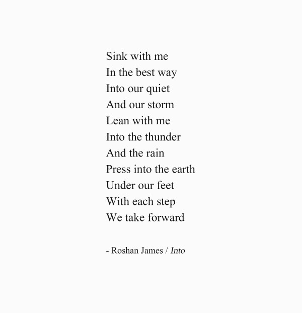 Into - poetry by Roshan James, Wellesley, Ontario, Canada