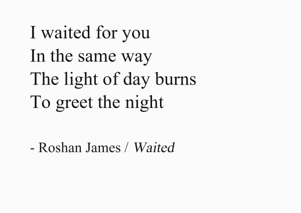 Waited - I waited for you / In the same way / The light of day burns / To greet the night - poetry by Roshan James, Wellesley, Ontario, Canada